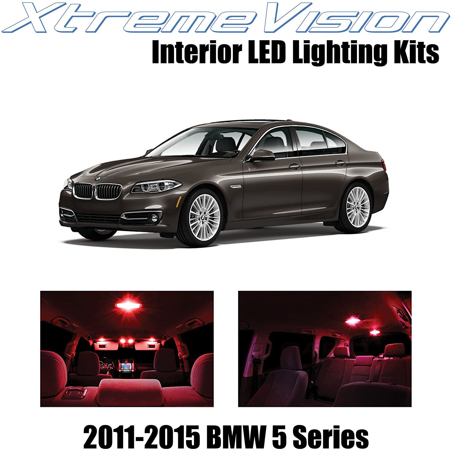 XtremeVision Interior LED for BMW 5-Series F10 528i 535i 550i M5 2011-2016 (18 Pieces) Red Interior LED Kit + Installation Tool