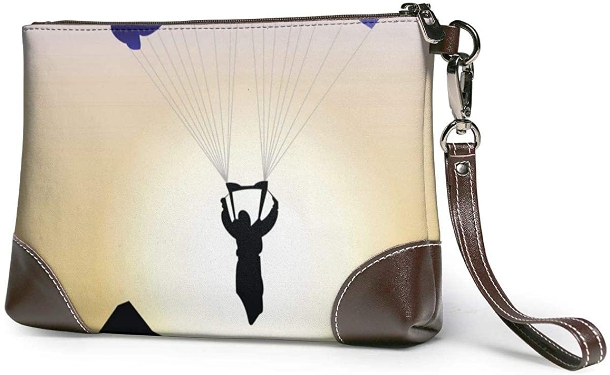 Parachute Jumping Leather Clutch Fashion Handbag Phone Wristlet Purse