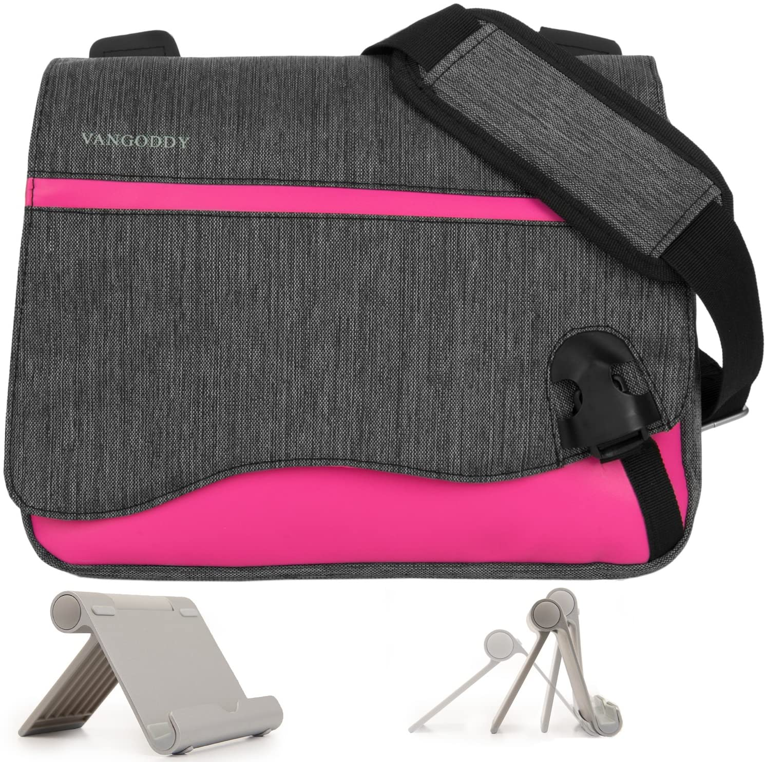 Wave Anti-Theft Magenta Messenger Bag for NuVision Tablet PCs Up to 10.8inch + Universal Tablet Stand