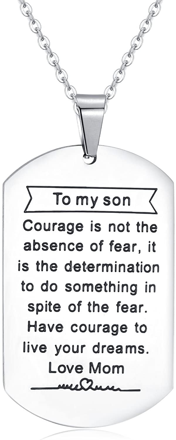 Jureeone Inspirational Stainless Steel Pendant Necklace Letter Tag Gifts for Family Friends Unisex - Always Remember You are Braver Stronger Smarter Than You Think
