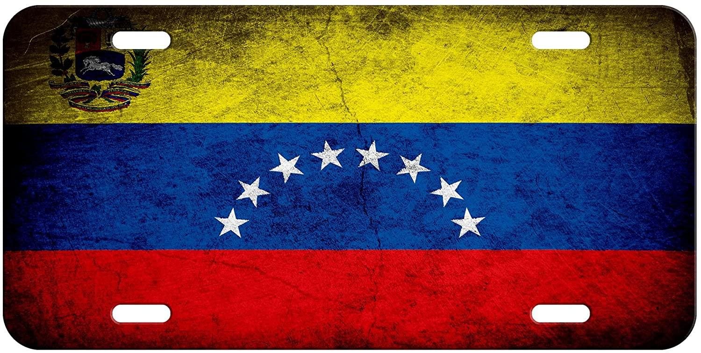 ExpressItBest High Grade Aluminum License Plate - Flag of Venezuela (Venezuelan) - Rustic