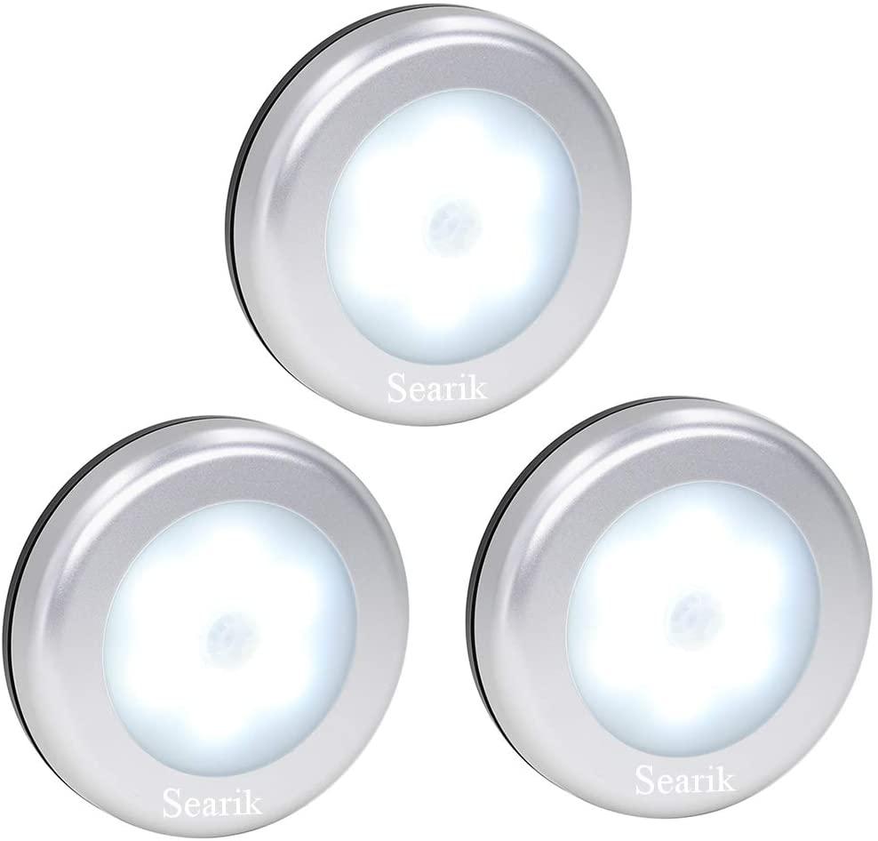 Motion Sensor Light, Searik Battery Powered LED Night Light Step Lights Stair Closet Light Under-Cabinet Lighting Stick On Anywhere Lamp for Home, Kitchen, Hallway, Cabinet, Closet, Stairs, Bathroom