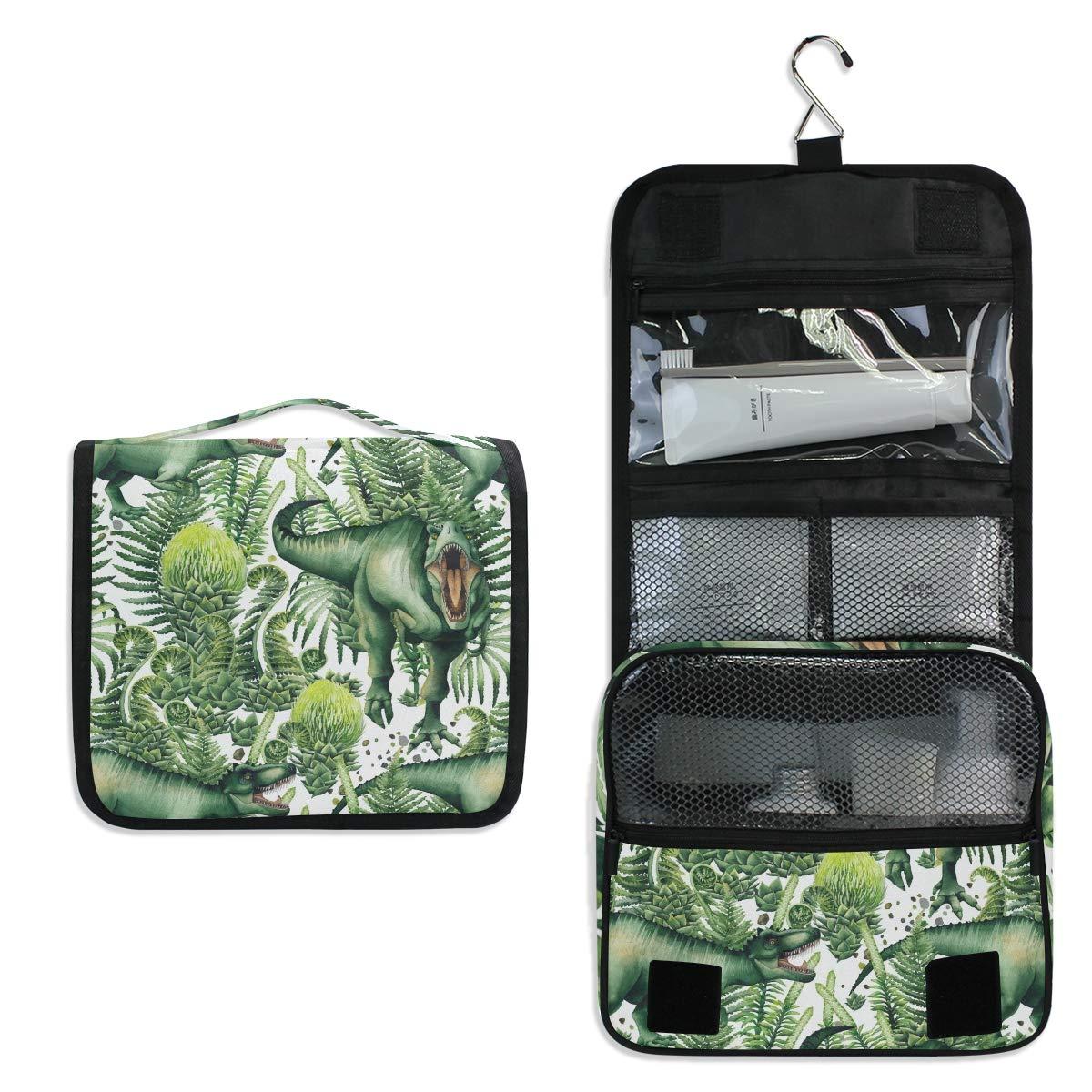 Toiletry Bag Travel Bag Hanging Hook - Watercolor Tyrannosaurus Green Plants Waterproof Cosmetic Bag Portable Makeup Pouch for Toiletries Bathroom