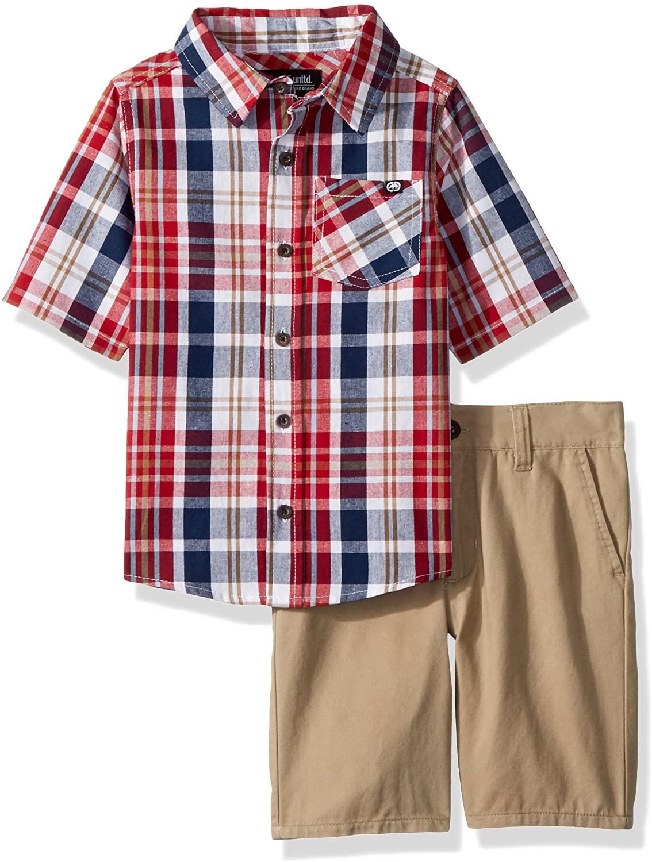Marc Ecko Boys Little Plaid Woven Shirt SND Short Set