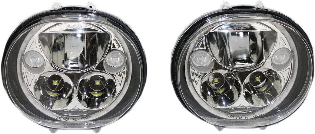 Custom Dynamics CDTB-575OV-C Trubeam Oval Headlights, Chrome for Harley (2004-2013) Road Glide Models