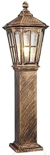 LWJPP Retro Outdoor Post Pillar Lantern Aluminum Metal Exterior Traditional E27 Waterproof IP65 Door Light for Landscape Garden Villas Door Column Headlights (Color : Bronze-h-80cm)