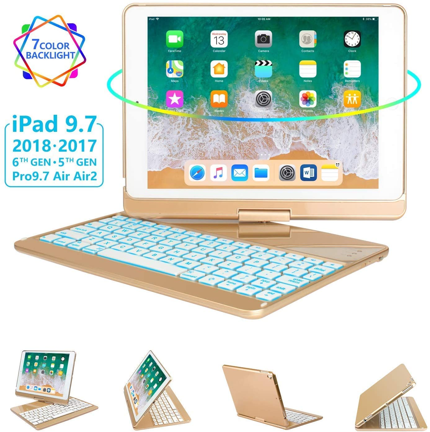 iPad Keyboard Case 9.7 for iPad 2018 (6th Gen) - 2017(5th Gen) - iPad Pro 9.7 - Air 2 & 1, 360 Rotate 7 Color Backlit Wireless/BT iPad Case with Keyboard, Auto Sleep Wake, 9.7 inch, Gold