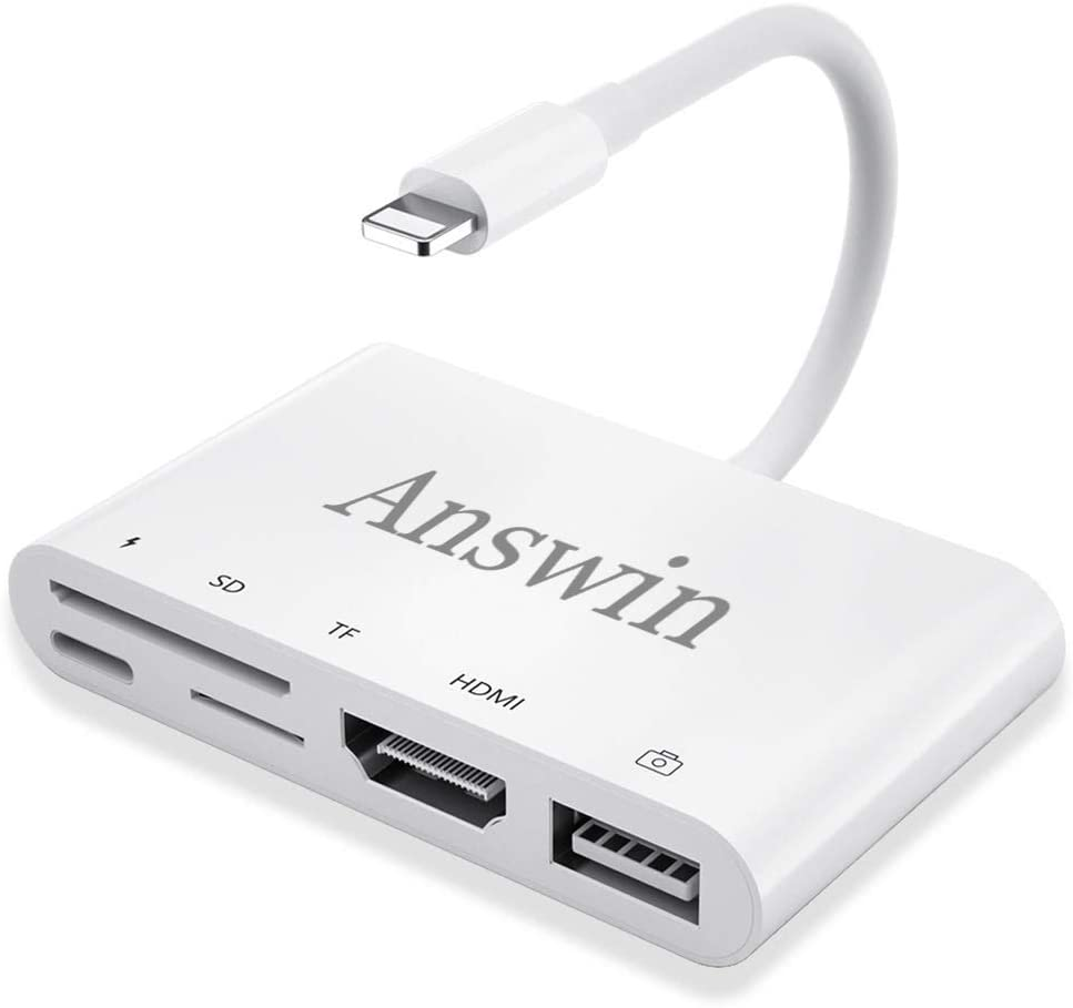 Lighting to HDMI, TF/SD Card Adapter, Answin 5 in 1 iPad iPhone to HDMI, USB Camera, TF/SD Card Adapter with Charging for iPhone 11 / Xs/XR/X /8, iPad, iPod
