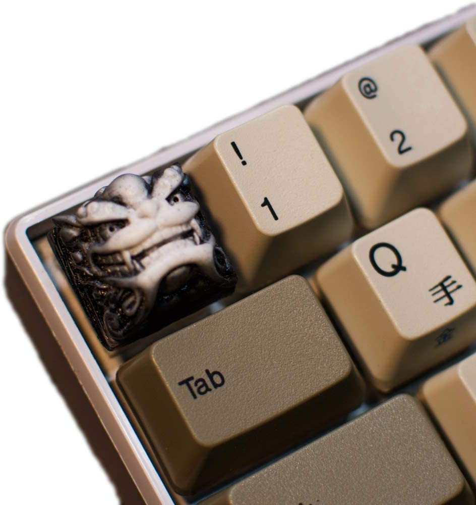 Resin Keycap OEM/R4 Height Suitable for MX Switch, Delicate Hand Engraved Resin Key Caps for Mechanical Keyboards (White)