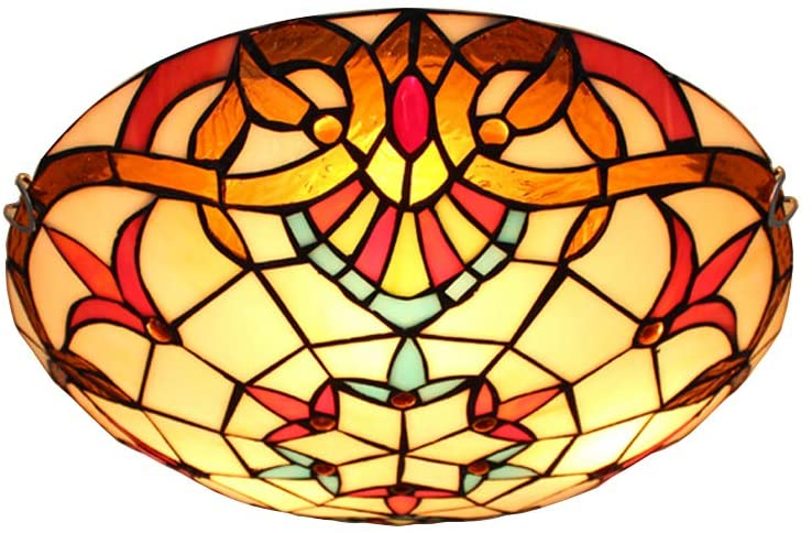 BAYCHEER Baroque Tiffany Ceiling Lamp 2 Lights Vintage Flush Mount Ceiling Light with Stained Glass Shade 12