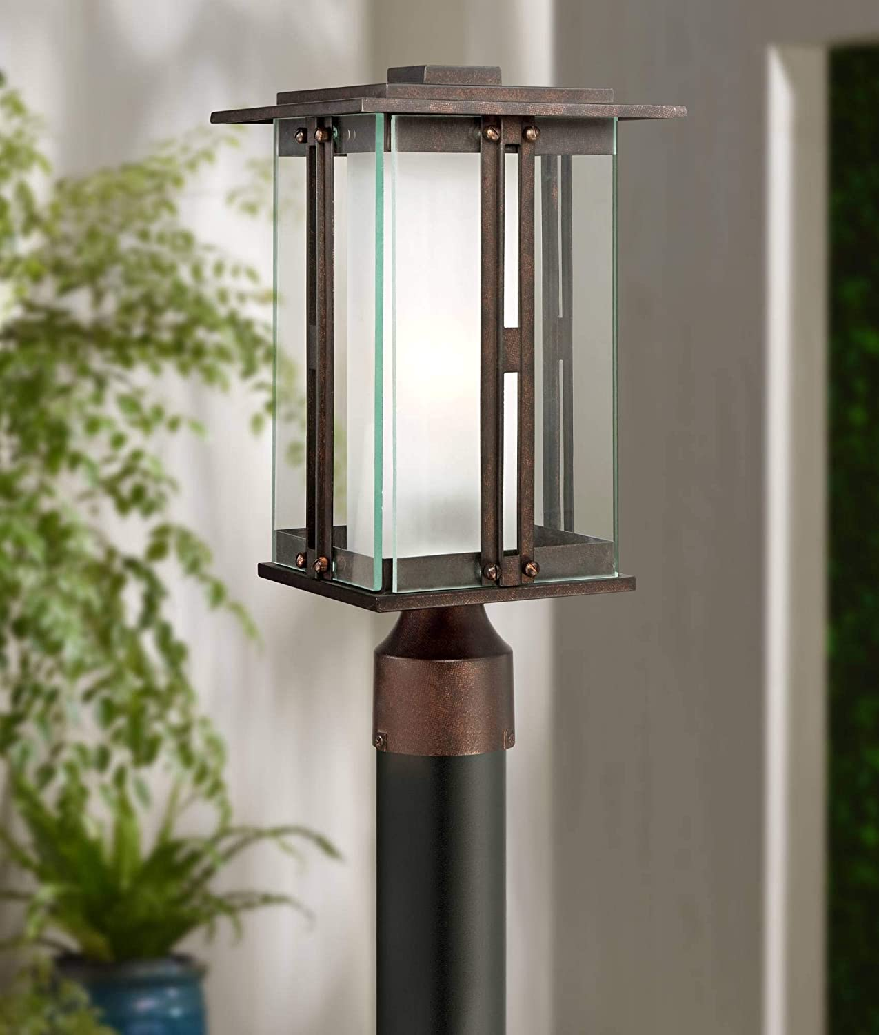 Fallbrook Collection Modern Outdoor Post Light Fixture Bronze 15 3/4 Clear and Frosted Double Glass Lantern for Exterior House Garden Yard Driveway Deck - Franklin Iron Works