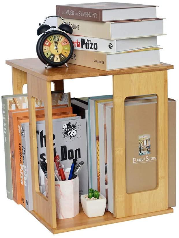 Rotational Desktop Bookshelf - Wide Capacity Bamboo Bookshelves for Organize & Easy Access of Hard Books, Magazine | 360° Revolving Bookcase Rack | Unique Wooden Book Organizer for Home & Office Desk