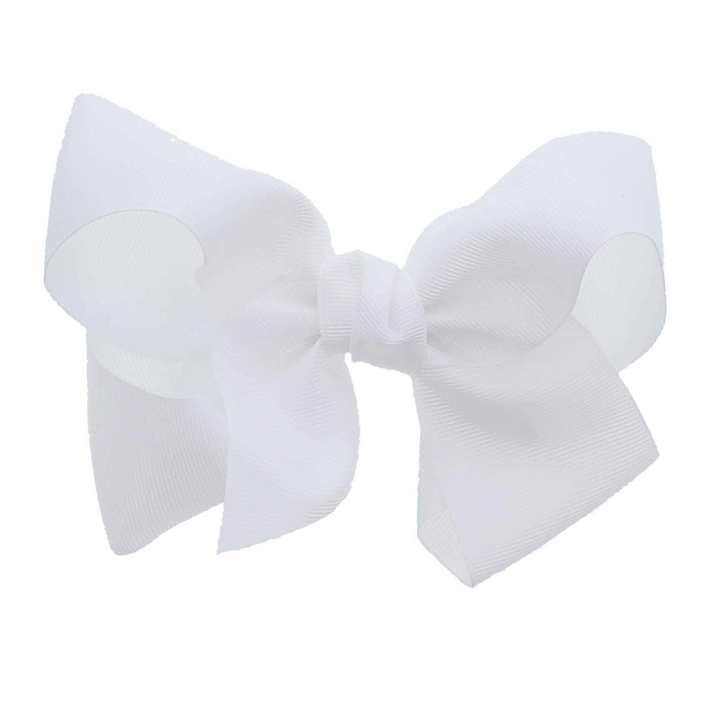 White 5.5 Inch Grosgrain Hair Bow Clip For Woman And Girls