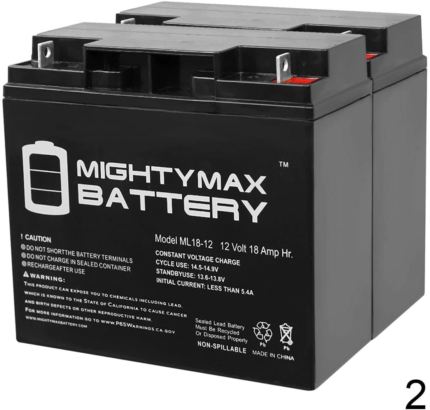 Mighty Max Battery 12V 18AH SLA Battery for CAT CJ3000 2000 Peak Amp - 2 Pack Brand Product