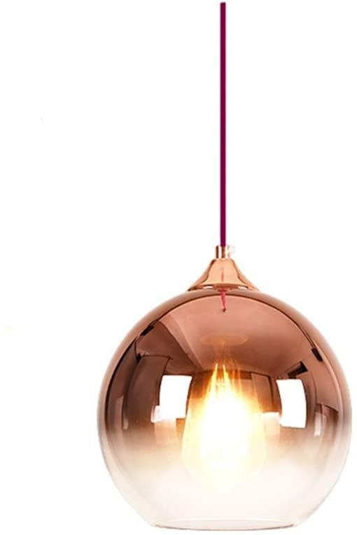 Spherical Gradient Color Glass Pendant Light Modern Glass Lamp Chandelier Hanging Light (Rose Gold, 30Cm)