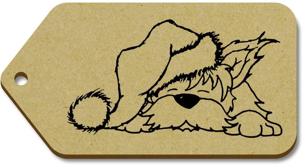 Azeeda 10 x Large 'Dog in Santa Hat' Wooden Gift Tags (TG00012785)