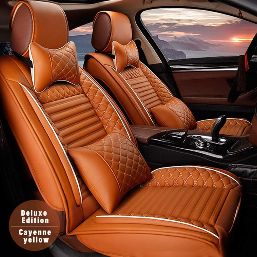 8X-SPEED for GMC Terrain 5 Car Seat Covers Luxury (with headrest and waistrest) Durable Comfort Leatherette Seat Cushions (Airbag Compatible) Front and Rear Seats Covers Orange