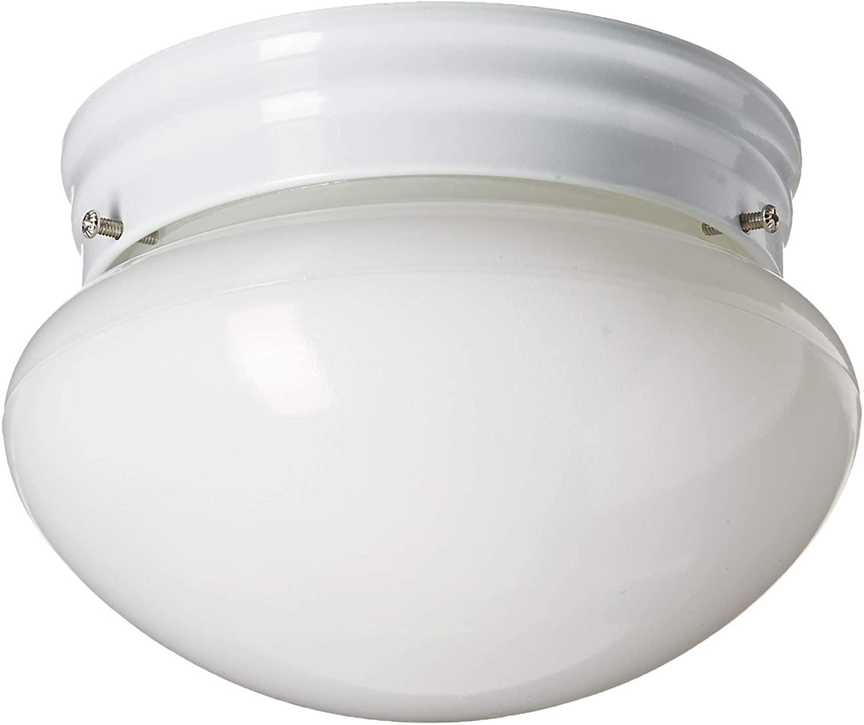 Sea Gull Lighting 5326EN3-15 Webster One-Light Ceiling Flush Mount Hanging Modern Light Fixture, White Finish