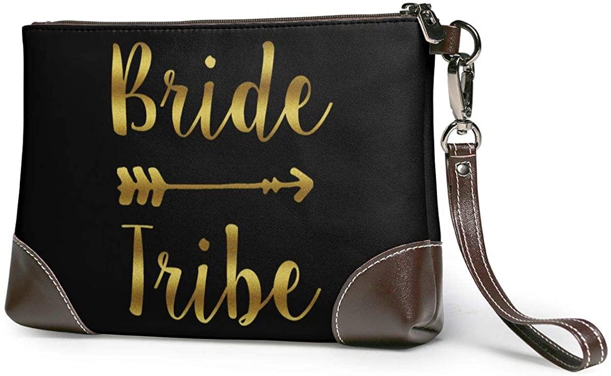 Bride Tribe Leather Clutch Fashion Handbag Phone Wristlet Purse
