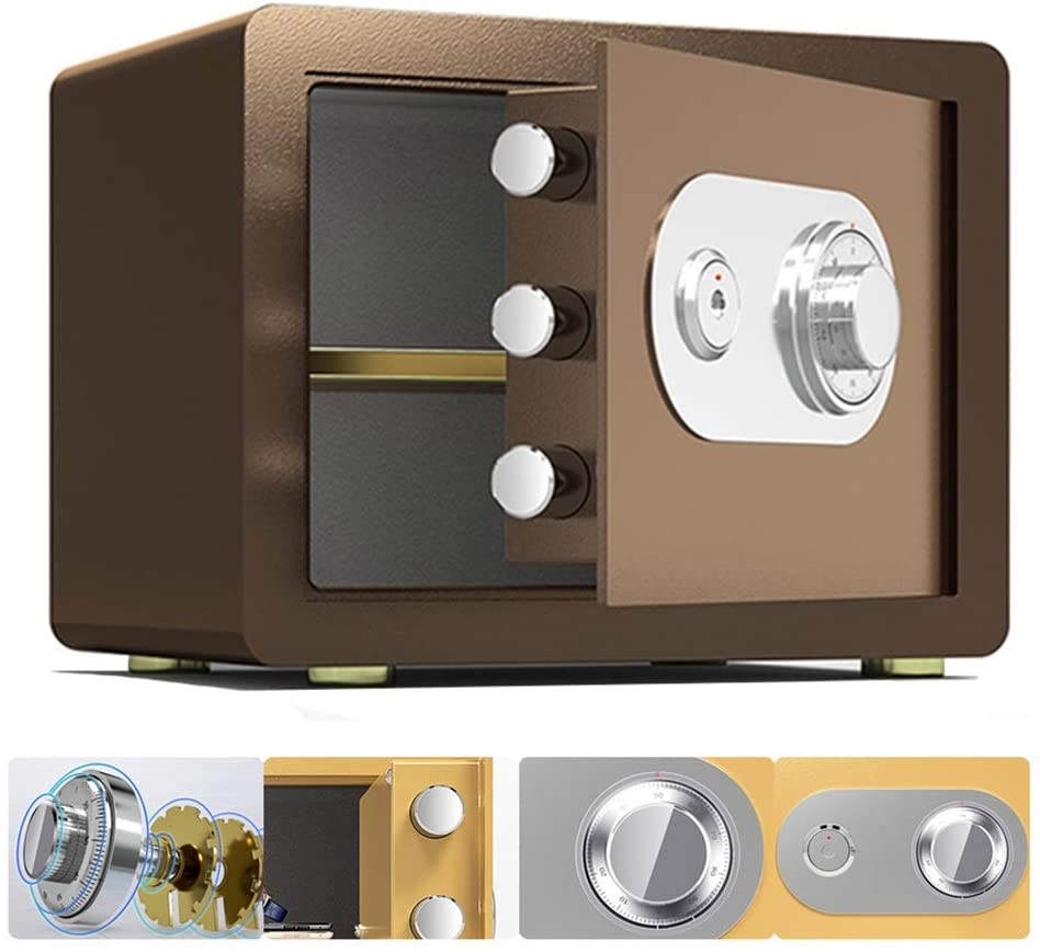 Safes MM Home Small, Mechanical Metal Lock Disk and Key Double Protection, Fireproof and Anti-Theft Wall-Mounted Cash Cabinet, 35x25x25cm (Color : Brown)