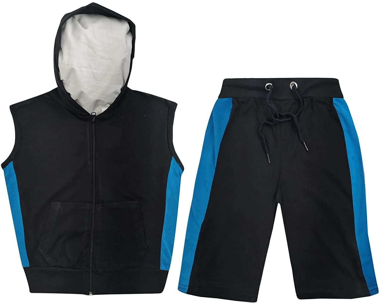 Kids Girls Boys Gilet 100% Cotton Contrast Panelled Summer Top & Shorts Set 5-13
