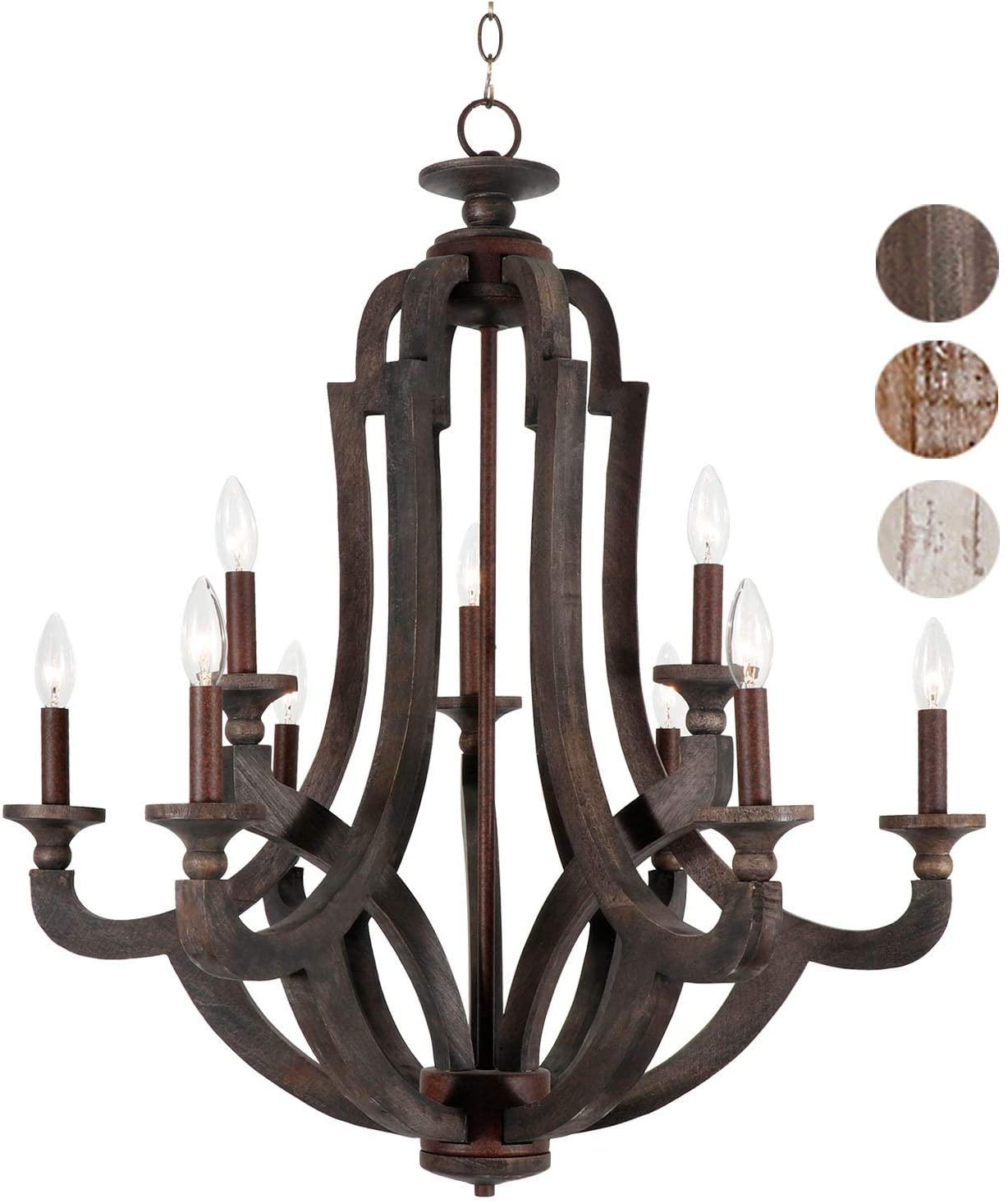 Springzouk 9 Light Wooden Chandelier,Super Easy Install,Very Classy and Antique Looking - L29.5 xW29.5X H33.2 Inches (Wooden Black)