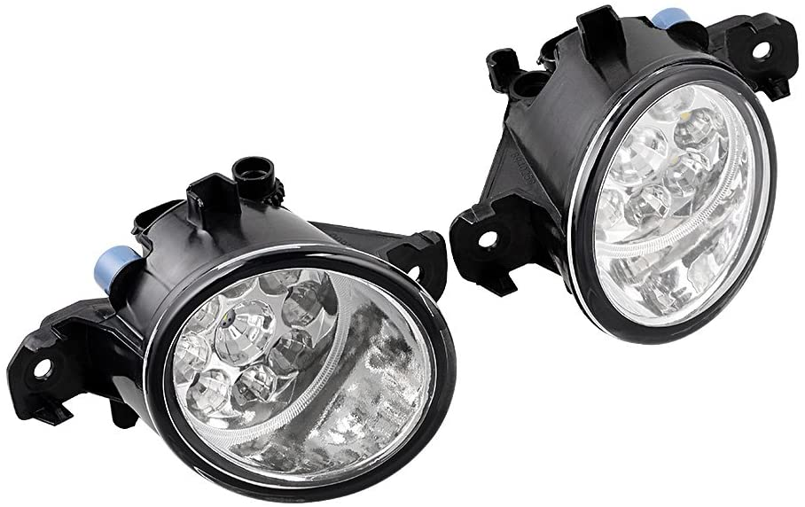 Real Glass Lens 9-LED Fog Lights Compatible with Nissan Rogue Altima Sentra Maxima Versa Pathfinder (2X)