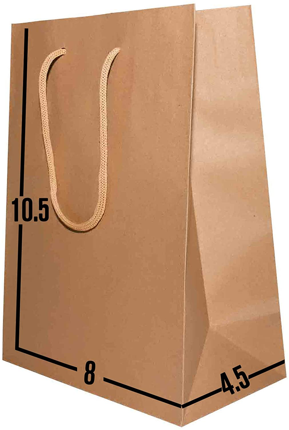 Kraft Paper Gift Bags Bulk with Handles 8 X 4.5 X 10.5. Ideal for Shopping, Packaging, Retail, Party, Craft, Gifts, Wedding, Recycled, Business, Goody and Merchandise Bag (Brown Rope Handles, 50 Bags)