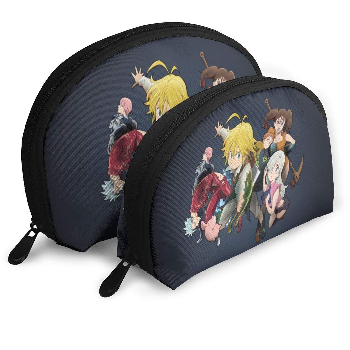 The Seven Deadly Sins Makeup Bag Portable Bags Clutch Pouch Coin Purse For Women Multifunction Handbag Organizer Travel Storage Bag Shell Shape With Zipper (2 Pcs)
