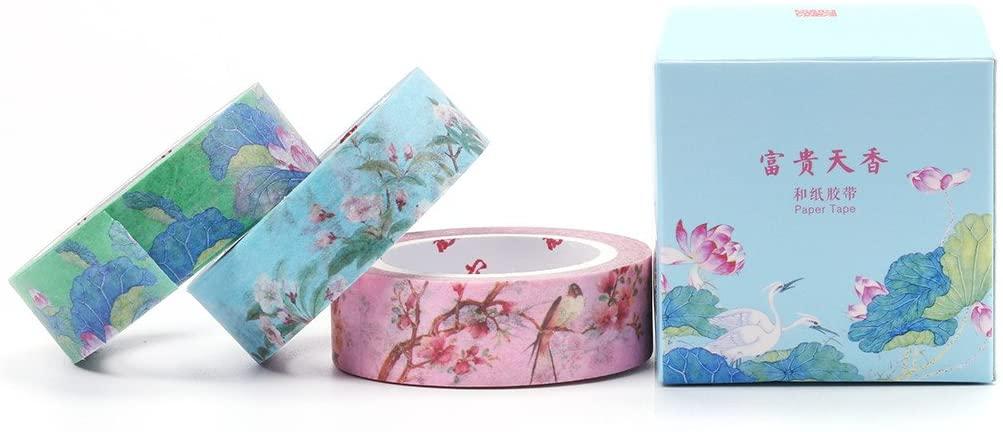 Keeone 3PCS Chinese Travel Gift Palace Museum Style Colorful Washi Tape Masking Tape Decorative Craft Tape