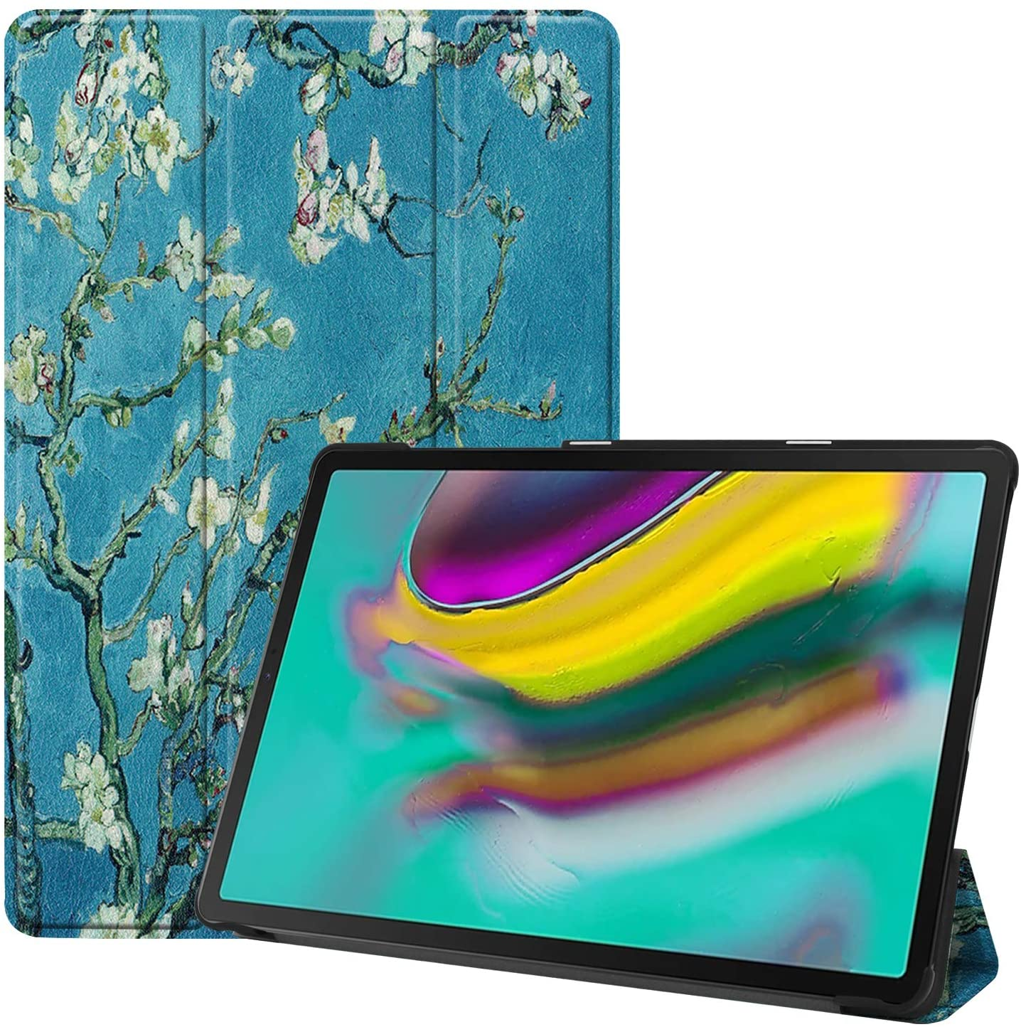 Epicgadget Case for Galaxy Tab S5e SM-T720/T725, Slim Tri-Fold Folding Shell Auto Wake/Sleep Smart Cover for Samsung Galaxy Tab S5e 10.5 Display Tablet Released in 2019 (Almond Blossom)