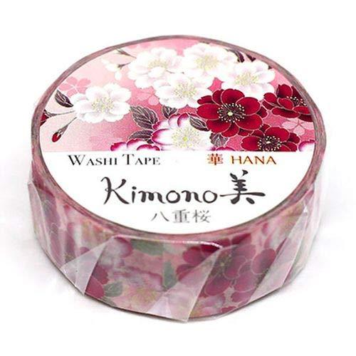 Kamiiso - Kimono Masking Tape - Washi Tape (15mm) - Double Cherry Blossoms