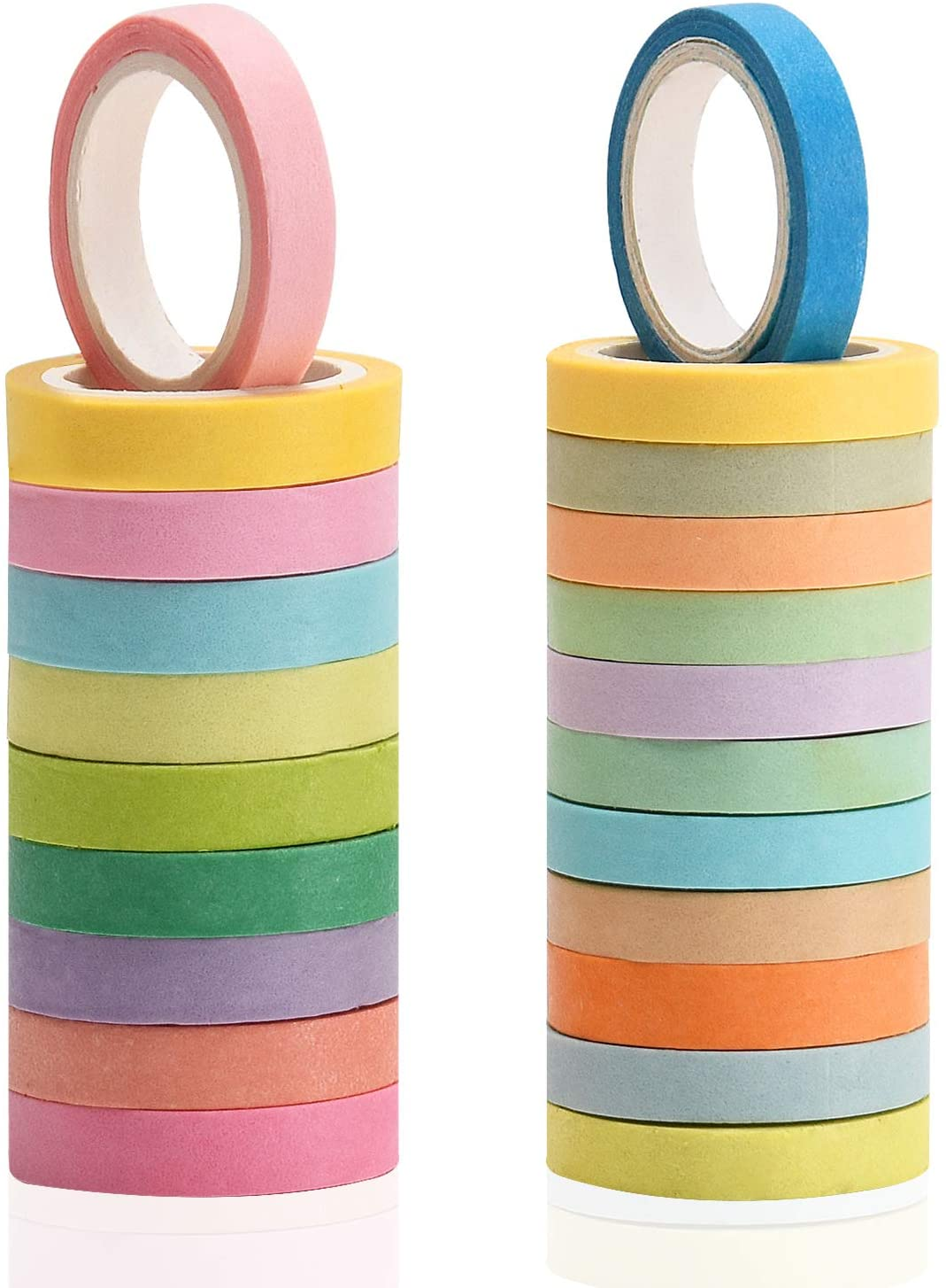 Noverlife 44PCS Colorful Masking Tape, Pinkycolor Washi Tape Decorative Labelling Tape Teaching Supplies for DIY Arts Crafts Scrapbooking, Wall Art, Posters, Greeting Cards, Picture Frames, Gift Wrap