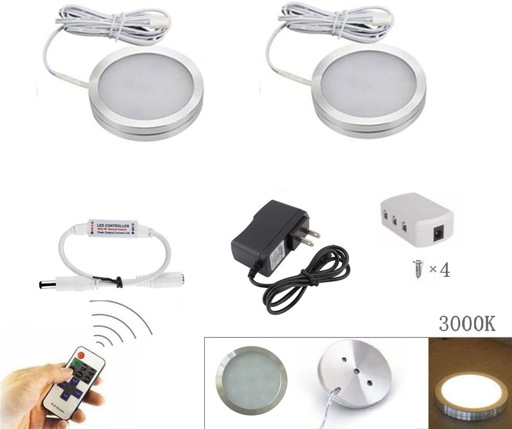 Xking 2Pcs Slim Dimmable LED Under Cabinet Lighting Kit, 12V Total 4W - Warm White