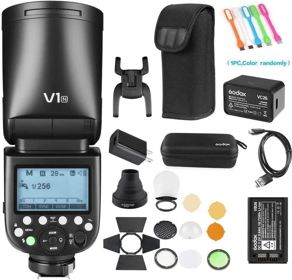 Godox V1-N TTL Flash Speedlite 76WS GN92 2.4GHigh-Speed Sync 1/8000s2600mAh Li-ion Battery Round Head Camera Speedlight with Godox AK-R1 Accessories Kit Compatible for Nikon Cameras