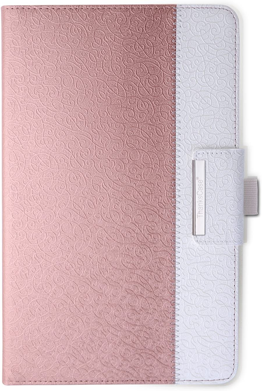 Thankscase Case for Galaxy Tab A 10.1 2016 No S Pen, Rotating Case Cover Build-in Wallet Pocket, Hand Strap, Beautiful Embossed Pattern, Smart Cover for Galaxy Tab A 10.1 SM-T580/T585/T587(Rose Gold)