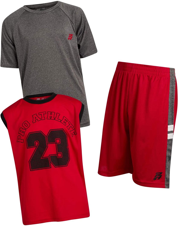 Pro Athlete Boys Athletic Quick Dry Tee-Shirt and Shorts 3 Piece Performance Short Set, Size 10/12, Blue/Grey Pa