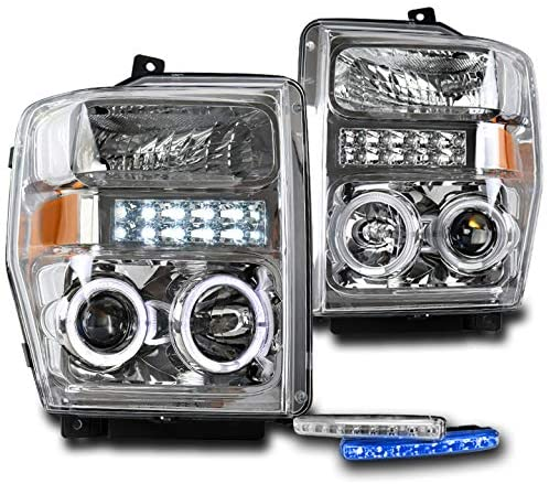 ZMAUTOPARTS Halo LED DRL Chrome Projector Headlights with 6