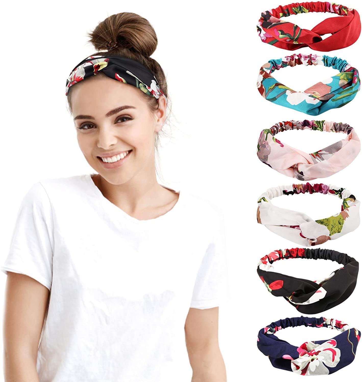 MoKo Headbands for Women Non slip, Athletic Boho Cute Floral Cross Headwrap for Runner Yoga Gym Sport Running Workout