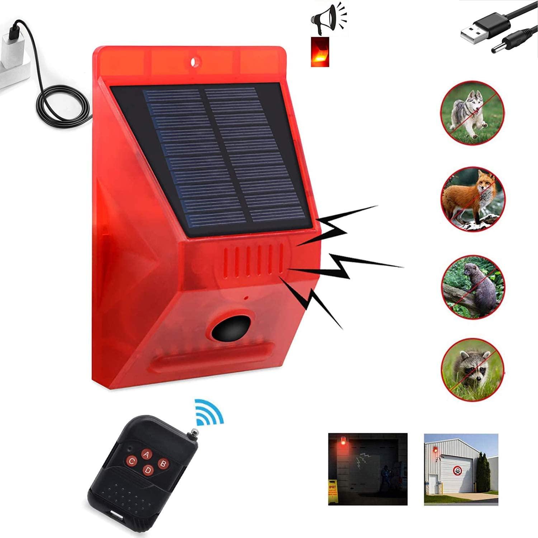 Comboss Solar Strobe Light with Remote Controller, Solar Strobe Light with Motion Detector Solar Alarm Light 129db Sound Security Siren, Protected your Home, Farm, Barn, Barn,Villa,Yard.
