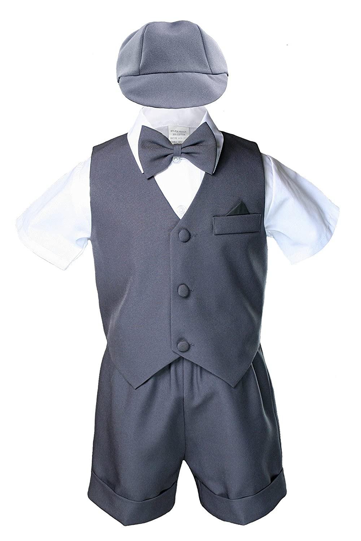 Dark Gray Baby Boy Toddler Eton 5pc Formal Vest Shorts Set Suits Hat S-4T (2T)