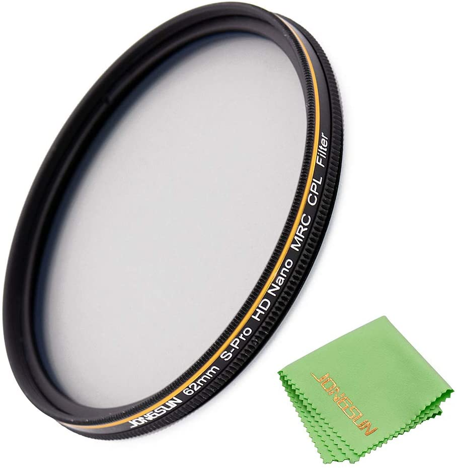 JONGSUN 62mm Polarizing Filter, Circular Polarizer Filter, S-Pro HD Nano MRC16, 16 Layers Multicoated, NITTO AGC Optics Glass, CPL Filter for Camera Lens