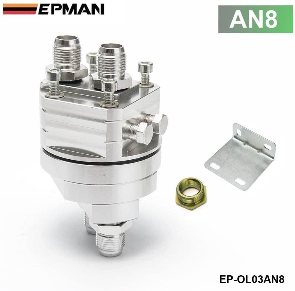 EPMAN Universal Oil Filter Cooler Sandwich Plate Adapter M20x1.5 (AN8 Fitting, Silver)