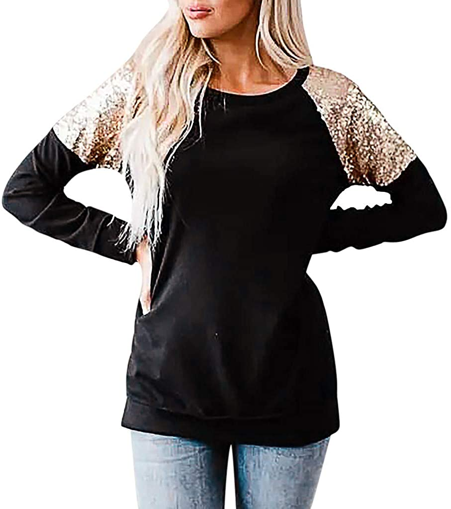 Msaikric Long Sleeves Fashion Womens Pure Color Blouse Fashion Tops Basic T Shirts Pullover