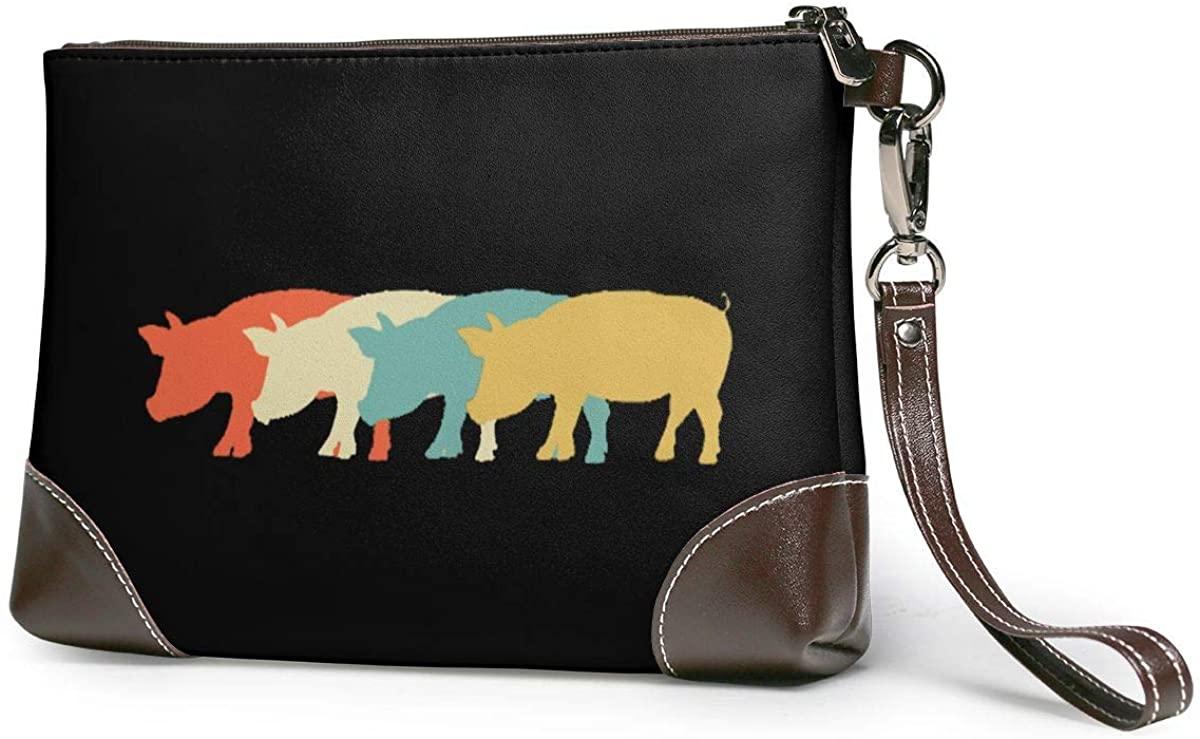 Vintage Retro Pig Lover Leather Clutch Fashion Handbag Phone Wristlet Purse