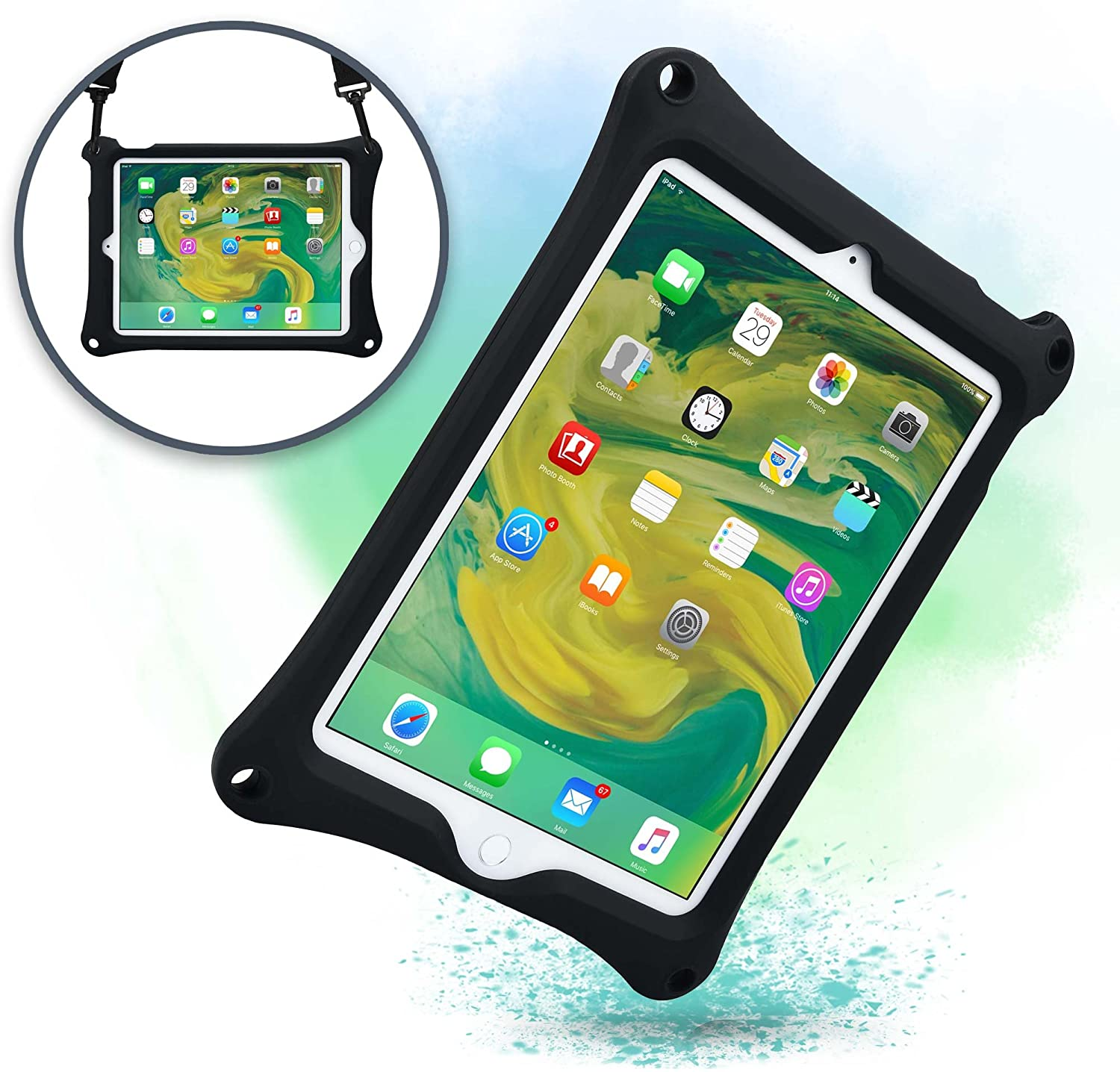 Cooper Bounce Strap [Rugged Silicon Carry Case] for Apple iPad Air 2, iPad Pro 9.7 | Shock Proof Heavy Duty Cover, Stand, Hand & Shoulder Strap (Black)