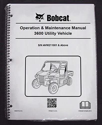 Bobcat 3600 Utility Vehicles Operator's Owners Operation & Maintenance Manual - Part Number # 6990370