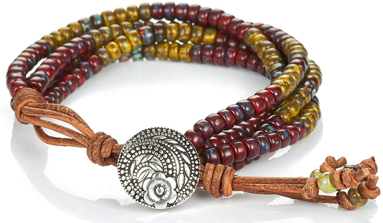 LAVI Unisex Handmade Indian Totem Bracelet Japan Imported Miyuki Seed Bead Multilayer Wrap Bangle Native American Style Jewelry Adjustable Size