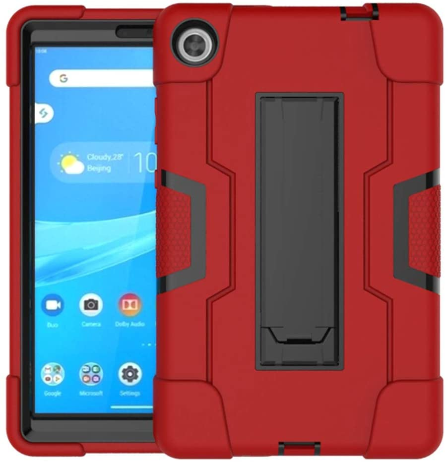 Koolbei Case for Lenovo Tab M8 Case,Heavy-Duty Drop-Proof and Shock-Resistant Rugged Hybrid case(with Built-in Stand),for Lenovo Tab M8 8.0 inch Tab Case(Red/Black)
