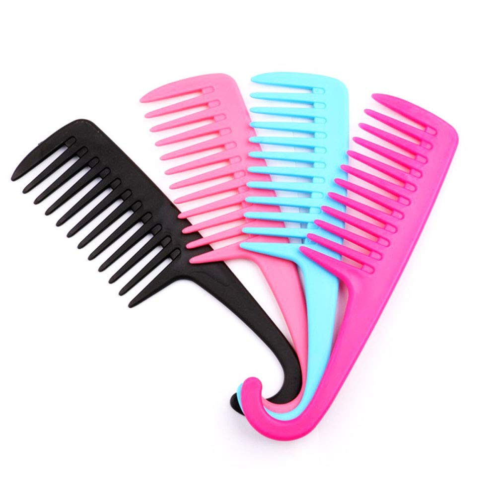 4Pcs Wide Tooth Comb - Detangler Comb with Hook : Women Wide Tooth Comb for Curly Thick Long Hair Styles